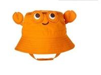 2015 New Children Caps Orange Color Crab Hat Sunbonnet  Cotton Hats Baby Girls Beach size 47cm,49cm,51cm