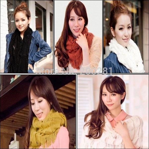 Fashion Women Tassel Ring Scarf Autum/Winter Knitting Wool Collar Neck Warmer Woman Ring Scarf Shawl 2 Circles Shawl Neck Wrap(China (Mainland))
