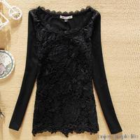 new fashion women slim plus velvet basic shirt lace o-neck long-sleeve t-shirt plus size shirts tops women's tees
