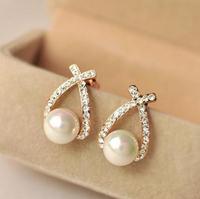 fashion jewelry Crystal Pearl Stud Earrings bijoux women OL Style Fashion Women earrings