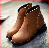 hot sale 2014 new vintage winter women flats shoes autumn leather ankle Women boots Motorcycle brown casual fashion brand