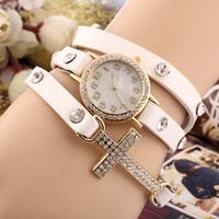 2014 New women vintage drill bracelet women watches with cross,fashion leather strap quartz watches,women dress watches  SL16