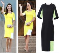Ebay 2014 fashion women's kate slim color block half sleeve one-piece dress