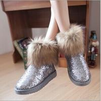 Winter fur integration female sequins imitation fox fur boots Warm boots short tube cotton shoes Warm boots