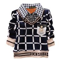 Popular kids boys winter plaid shirts collar t shirt warm school cotton cashmere clothes for chirldren age 2-6Y