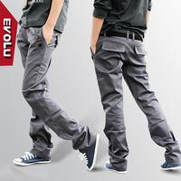 Evolu double belt slim tooling casual pants skinny pants harem pants trousers men's trousers