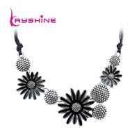Vintage style Alloy and Black Enamel Flowers Collar Necklace Perfumes Femininos