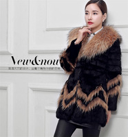 Factory 2014 New Women's Short Real Rabbit Fur Coat ,Fur Garment With O-Neck Retail And Wholesale