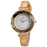 New Women Water Resistant Watch Luxury Brand SKONE Women Rhinestone Watch Leather Straps Women Quartz Wristwatches
