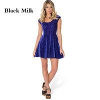 VOLFOUR 2014 Black Milk star pleated skater dress Fashion Sexy dress BURNED VELVET BLURPLE EVIL CHEERLEADER DRESS  FREE SHIPPING