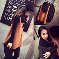 plus size 2014 fashion women winter dress loose knitted long sleeve patchwork woolen casual autumn dress vestidos femininos