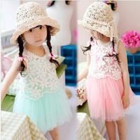 2015 NEW Hot sell girl Adorable princess dress Girls Polka Dots Bow Princess girls dress free shipping