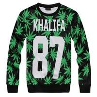 Alisister new fashion wiz khalifa sweatshirt men/women 3d printed Harajuku hemp fimble leaf weed sweatshirts moletons colegial