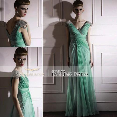 KingFox 80985 Tencel Beading V-neck Green Girls Lovely Evening Dress(China (Mainland))