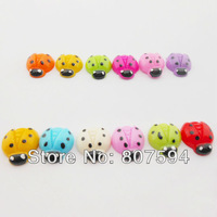 100pcs/lot Free Shipping Random Mixed Resin Ladybug Flatback Cabochon Craft For Scrapbook 17mm*15mm mixed color W19