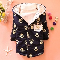 2014 winter new children's fashion children's coat covered with footprints boy child coat
