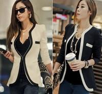 New 2014 Fashion Coat Women Jacket Blazer Black & White Patchwork Women Suits Shoulder Pads Women Blazers And Jackets Plus Size