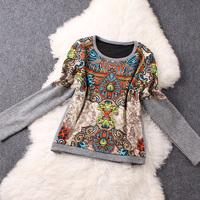 TOP QUALITY Europe Brand Design Pullover Casual Hoodies Sweatshirt 2014 Winter Woman Long Sleeve Vintage Print  T Shirt Top S-XL