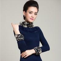 2014 winter new Korean style high quality women slim lace rabbit fur collar medium-long basic shirt pullovers turtleneck sweater