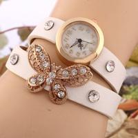 2014 New women vintage leather strap watches,set auger butterfly rivet bracelet women dress watch,women wristwatch SL05