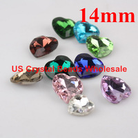 Free shipping! Wholesale 100pcs/lot 14mm 4831 heart pointback crystal fancy stone 21 colour (can choose colour)F5501-5521
