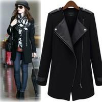 2014 autumn new ladies trench coat zipper stitching Slim long coat women windbreaker coat (woolen)