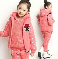 Winter children Sets Kids Clothing Sets Warm Knit thicken Fleece Peach Hearts Girl's Hoodie Sets 3pcs waistcoat / Hoodie / pants