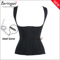 Hot women sexy black steel boned corset with straps push up corsets and bustiers slimming body shaper waist training corselet