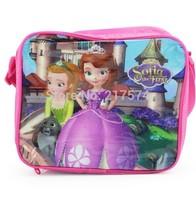 DHL 50PCS Cute Sofia the first Lunch bags nylon handbag for girl shouldren bag 24*20*7 Retail