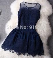 #306 2014  European and American fashion princess dress hot temperament Slim round neck lace dress evening dress party dress