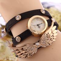2014 New women vintage leather strap watches,set auger angel wings rivet bracelet women dress watch wristwatch  SL10