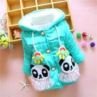 Kids lace skirt 2014 new winter palm panda head hooded cashmere coat
