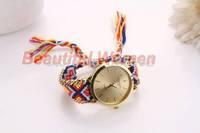 5pcs/lot 2014 New Arrivals Women Lady Retro Vintage Watches Weave Wrap Quartz Wrist Watch Bracelet Watch SV007909