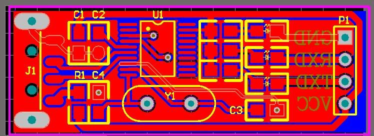 CH340T pcb file usb to ttl module USB -TTL module schematic and pcb