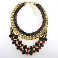 2014 New High quality ZA Brand Necklaces & Pendants Color Crystal Collar Statement Necklace Women Jewelry N436