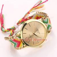 2014 New Arrivals Women Lady Retro Vintage Watches Weave Wrap Quartz Wrist Watch Bracelet Watch SV007909