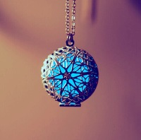 Glow In The Dark Retro necklace round pendants can open the hollow box sweater chain necklace