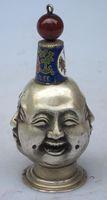 "Wonderful silver rare tibetan old silver 4 face buddha "" xi nu ai le""with cloisonne snuff bottle wholesale Cheap silver art gif"