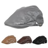 Unisex Mens Beret Hats Adjustable Women Men Solid PU Leather Beret Cap Newsboy Hat Flat Visors Newsboy Cap Men