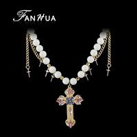 Created Pearl Necklace with Gold Color Cross Pendant Necklace for Women for Christmas Gift