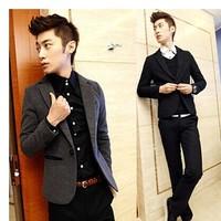 Male autumn outerwear trend slim blazer men's clothing blazer fashion single spring and autumn