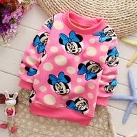 Colorful fancy cartoon female child fleece basic shirt 1-5 years old