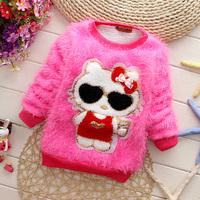 2014 Sweatshirt fleece cool sunglasses belt cat berber fleece thickening clothing