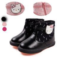Girl beauty fashion winter kids shoes for girls nonslip Kitty cartoon zipper cartoon Warm soft fashion boots christmas 2014 new