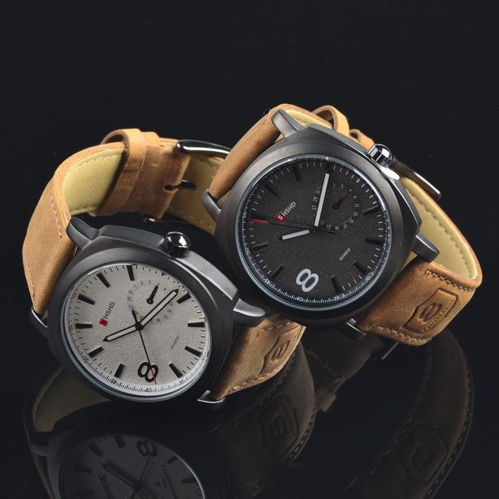 2015 новинка и свободного покроя высокое качество кожаный ремешок свободного покроя мужские часы коммерческие натуральной спортивные часы 4 цвет бесплатная доставка
