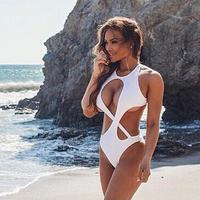 2015 New Women's Summer Sexy Monokini Swimsuit Lady's Slim show thin Bikinis Set Halter Pad Backless Beach Dresses