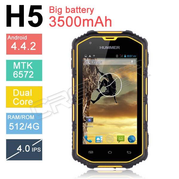 Original Hummer H5 Waterproof phone Smartphone android 4.4 IP68 phone 3G GPS Capacitive Screen WCDMA Waterproof battery 3500MAH(China (Mainland))