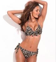 High Quality !RELLECIGA BRAND Women Charming Leopard Print Bikini Set Push-up Padded Bra Halter Swimsuit Swimwear ZCM
