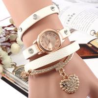 New 2014 Fashion Ladies Leopard spots leather love crystal pendant Wristwatches,Women Dress Watches Bracelet quartz watch