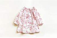 free shipping CS4086 Girls cotton   BOW print long sleeve blouse  5 pcs/LOT